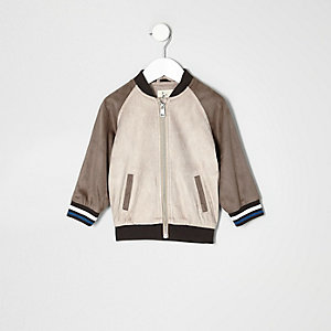 Mini boys suede look raglan bomber jacket