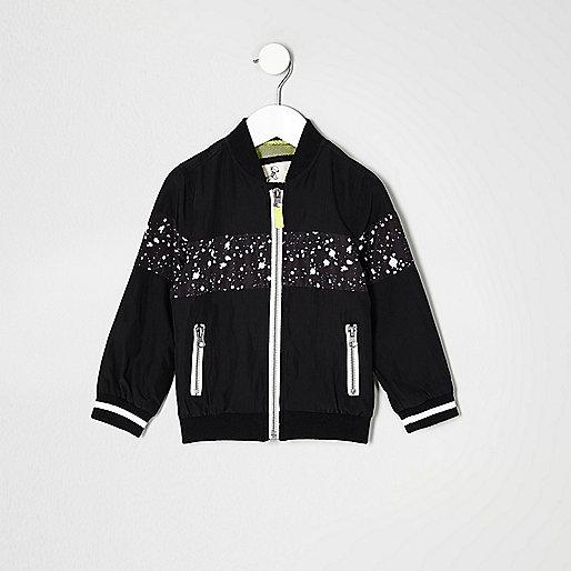 Mini boys black paint splatter bomber jacket