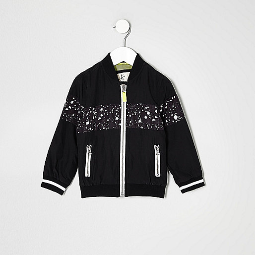 Mini boys black paint splatter bomber jacket