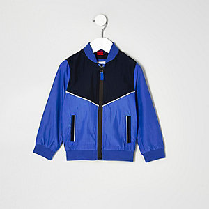 Mini boys blue colour block bomber jacket