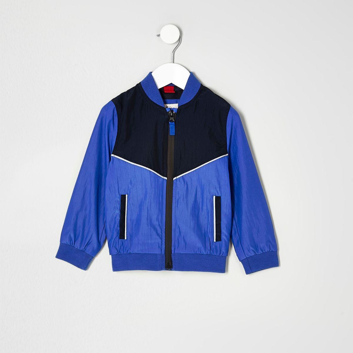Mini boys blue color block bomber jacket