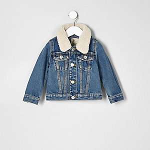 Mini boys mid blue borg collar denim jacket