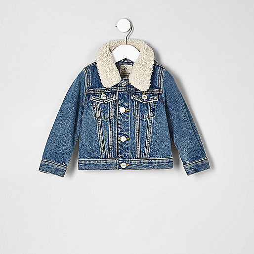 Mini boys mid blue fleece collar denim jacket
