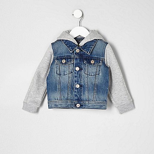 Mini boys blue hooded denim jacket