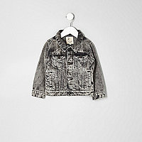 Mini boys grey acid wash denim jacket