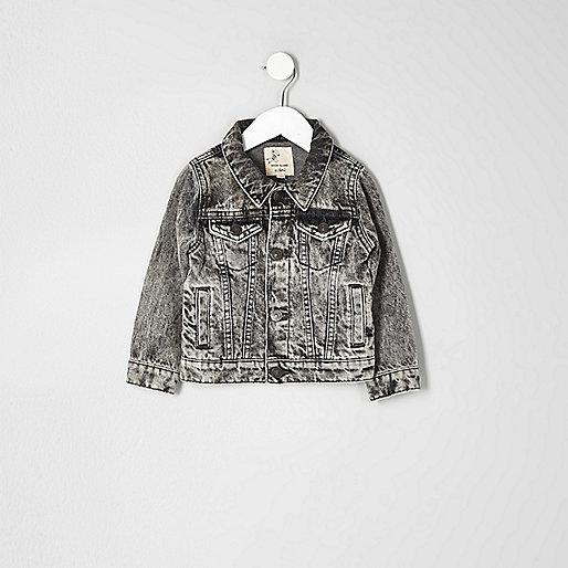 Mini boys grey acid wash denim jacket