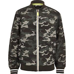 Boys khaki green camo print bomber jacket