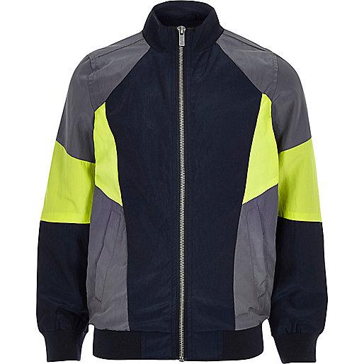 Boys grey graphic colour block track jacket