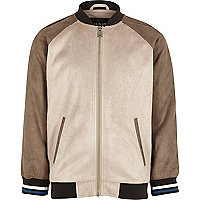 Boys stone suede look raglan bomber jacket