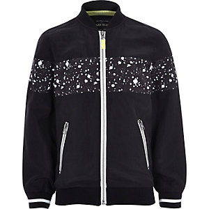 Boys black paint splatter bomber jacket