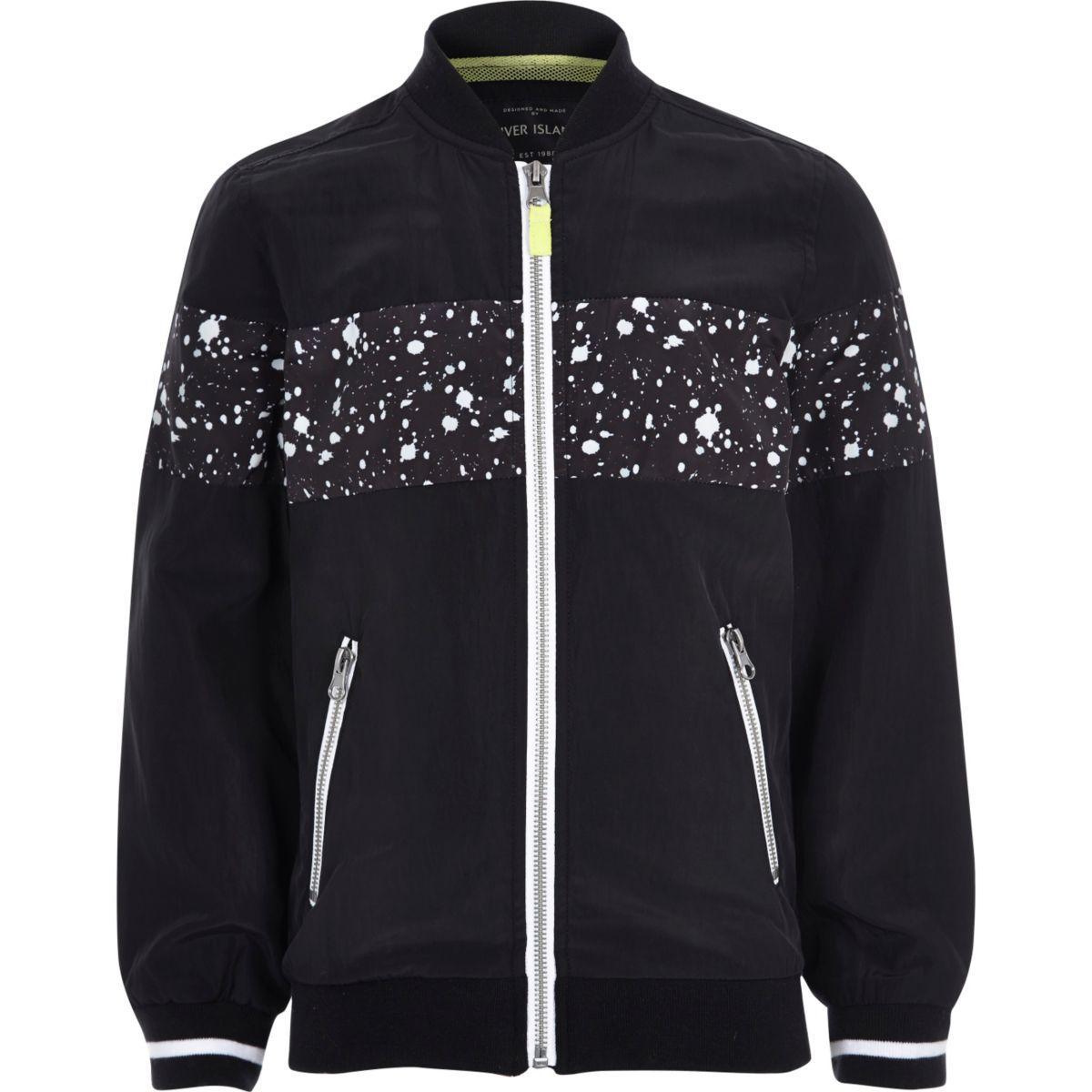 Boys black paint splatter bomber jacket
