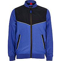 Boys blue sporty color block bomber jacket