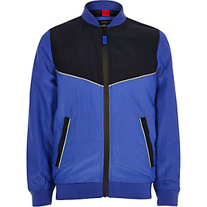 Boys blue sporty color block bomber jacket