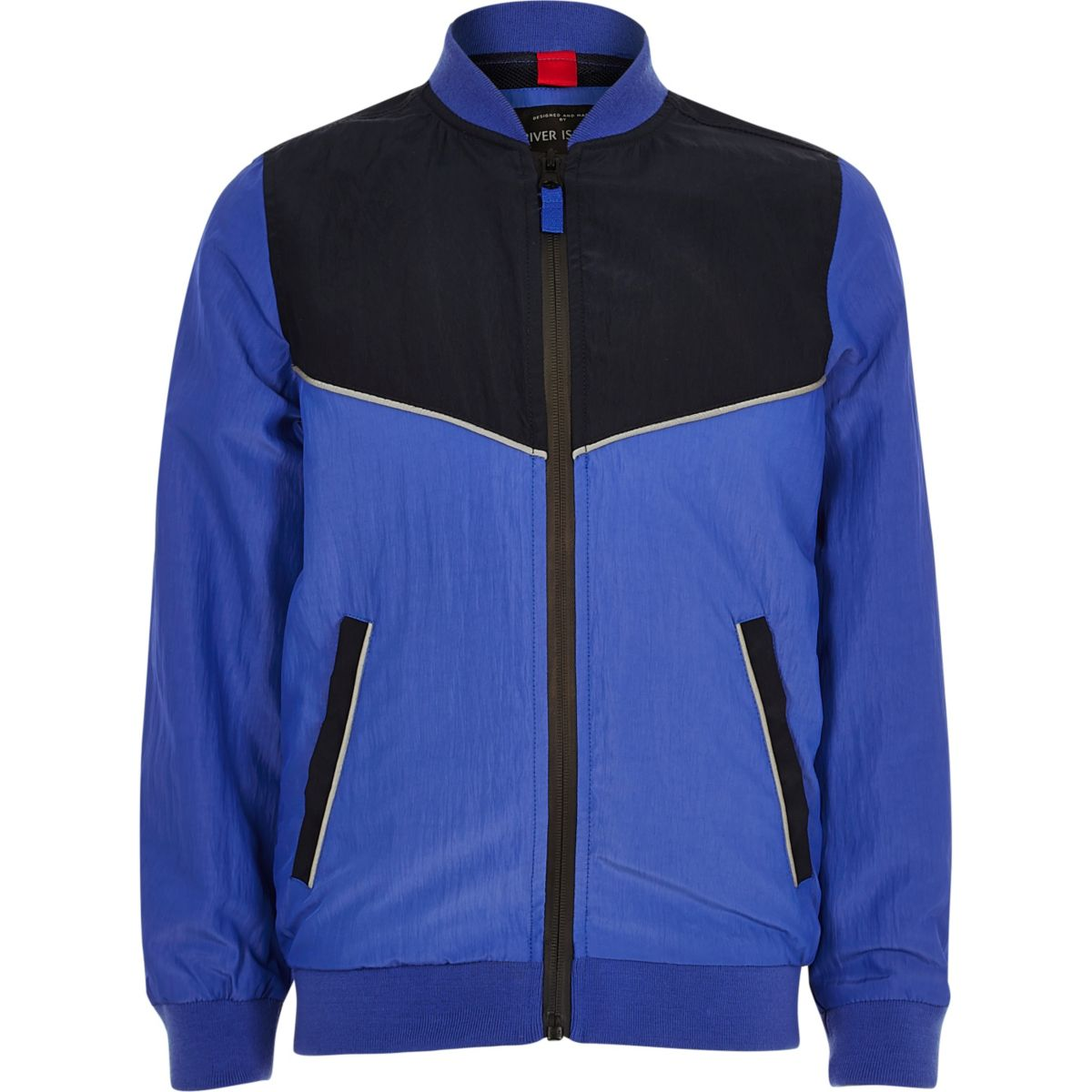 Boys blue sporty colour block bomber jacket