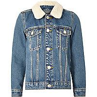 Boys mid blue fleece collar denim jacket