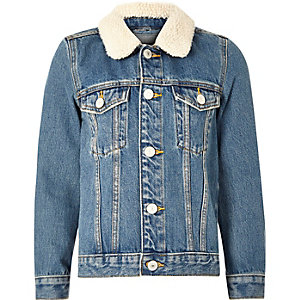 Boys mid blue borg collar denim jacket