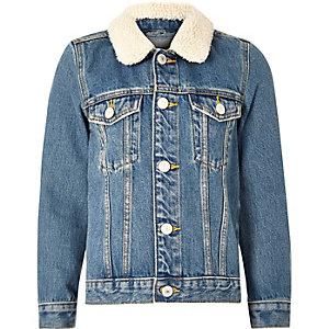 Veste en jean bleu moyen à col imitation mouton pour garçon