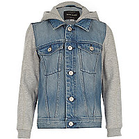 Boys blue denim hooded denim jacket