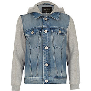 Blue denim hooded denim jacket