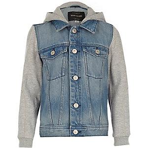 Veste en jean bleue à capuche garçon