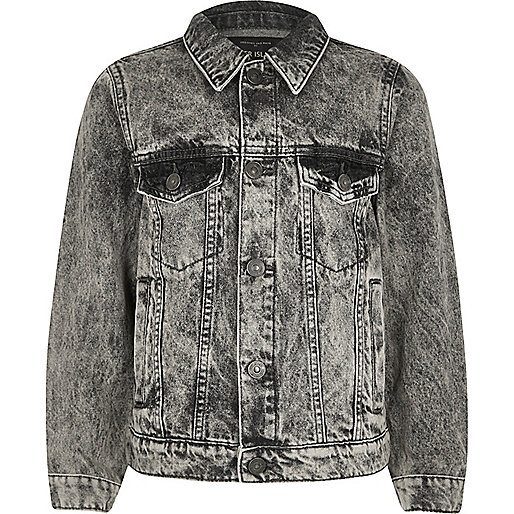 Boys grey skull embroidered denim jacket
