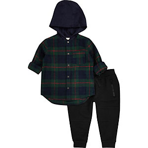 Mini boys green plaid shirt joggers set