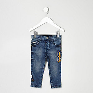 Mini boys mid blue patch Sid skinny jeans
