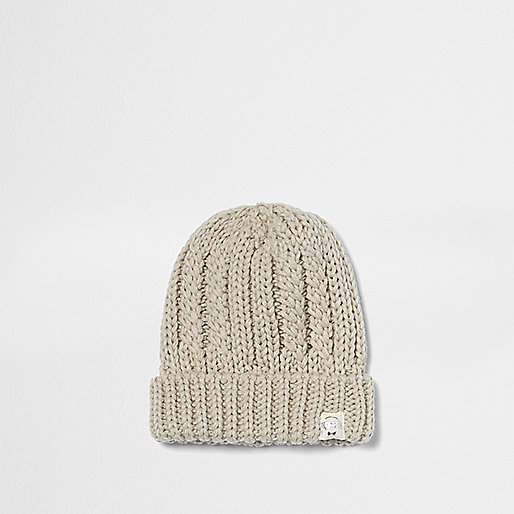 Mini boys cream twist knit beanie