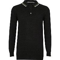 Boys black long sleeve polo shirt