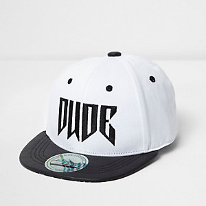 Mini boys white flat brim dude cap