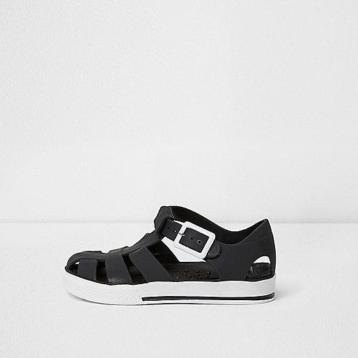 Mini boys black contrast jelly sandals