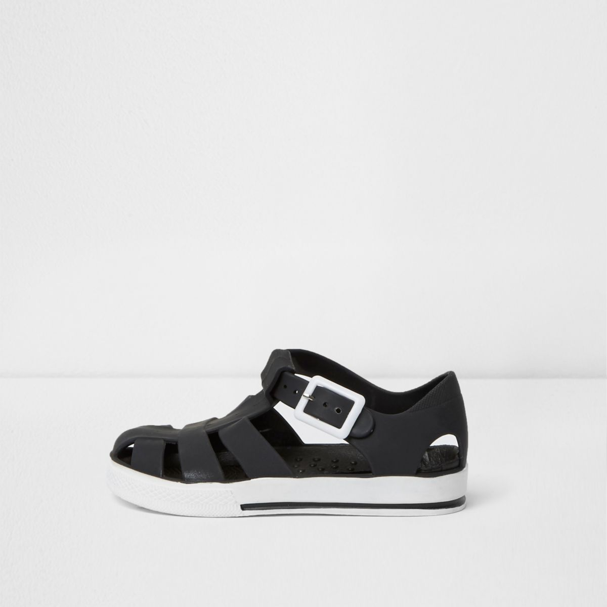 Mini boys black contrast jelly sandals