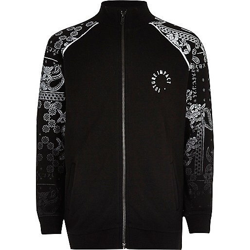 Boys black paisley fade sleeve track jacket