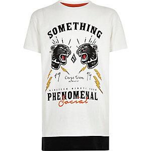 T-shirt imprimé blanc à ourlet contrastant pour garçon