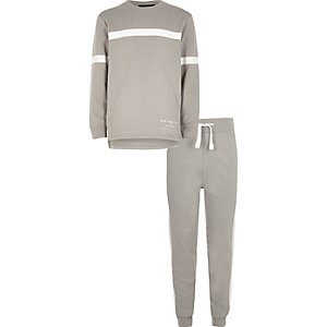 Boys grey sweater and jogger outfit