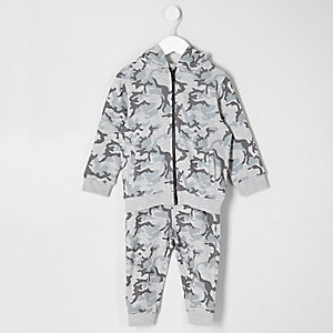 Mini boys grey camo hoodie and joggers set