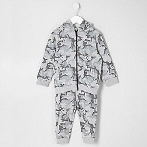 Ensemble pantalon de jogging et sweat à capuche motif camouflage gris mini garçon