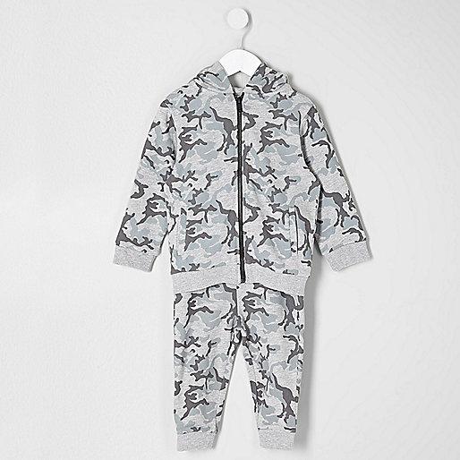 Mini boys grey camo hoodie and joggers set