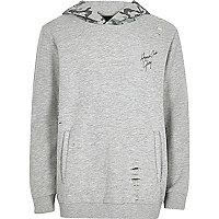 Boys grey hoodie with camo hood