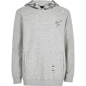 Boys grey hoodie with camo hood
