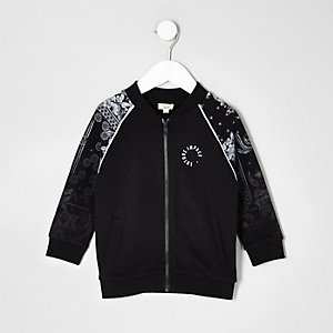 Mini boys black paisley bomber jacket