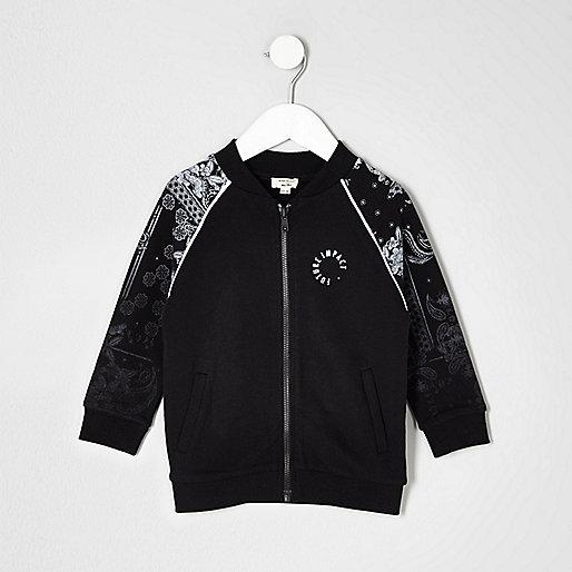 Mini boys black paisley bomber jacket