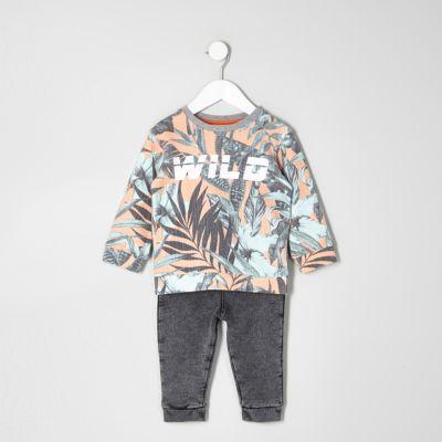Mini Outfit van sweatshirt met bladprint en joggingbroek voor jongens