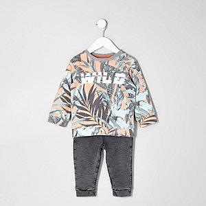 Sweatshirt mit Blättermuster und Jogginghose