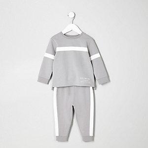 Mini boys grey panelled sweat and jogger set