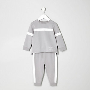 Mini boys grey panelled sweat and jogger set
