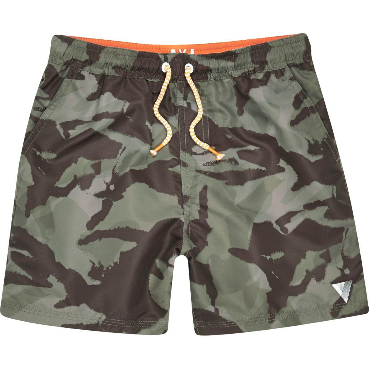 Give his swim selection a boost with the camo grid pattern of these summer essentials. Designed with a full elastic waistband and functional drawstring closure, these swim trunks feature a mesh lining that promises comfort and a flap pocket that promotes functionality.
