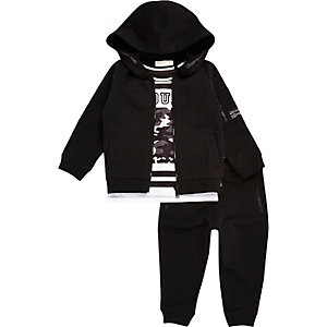 Mini boys black hoodie, T-shirt and joggers