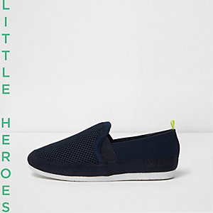 Boys navy mesh slip on plimsolls