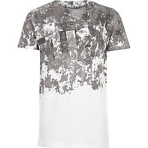 T-shirt blanc à imprimé effet craquelé pour garçon